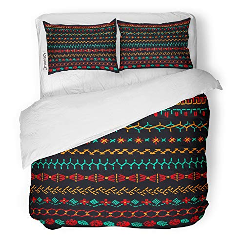 Emvency Decor Duvet Cover Set Twin Size Red Native Cross Stitch Pattern for of Folk Brushes with Stitching Border Craft 3 Piece Brushed Microfiber Fabric Print Bedding Set Cover