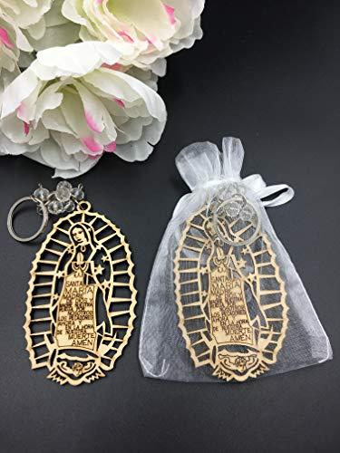 12Pcs Baptism Lady Guadelupe Wood Design Keychain baptism Favors for Boy or Girl Recuerdos de -
