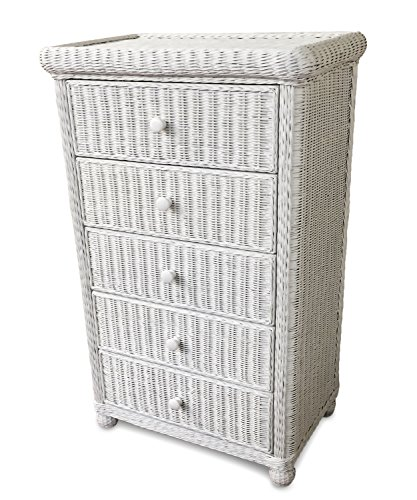 Wicker Paradise GA106 Elana Five Drawer Chest, Large (Dresser 5 White Drawer Wicker)
