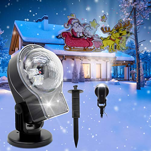 Snowfall Landscape Projector Lights,YOCUBY 2-in-1 Outdoor Rotating Snowflake Spotlight Projection LED Lamp with Moving Elk Santa Claus Animation,Decorations for Garden Xmas Christmas Lighting with Wir (Decorations Claus Outdoor Santa)
