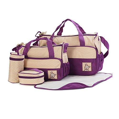 Waterproof Multifunction Changing Tote Bag Baby 5pcs Handbag Mummy Pad set Diaper Nappy Purple Bigforest Travel Set fSqaRw