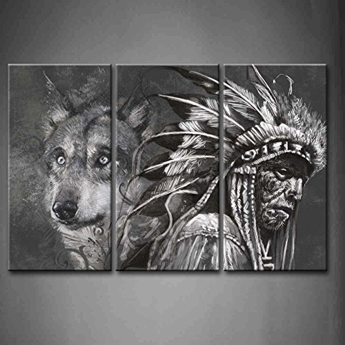 Amazon 3 Panel Wall Art Black And White Wolf Indians Painting The Picture Print On Canvas Animal Pictures For Home Decor Decoration Gift Piece