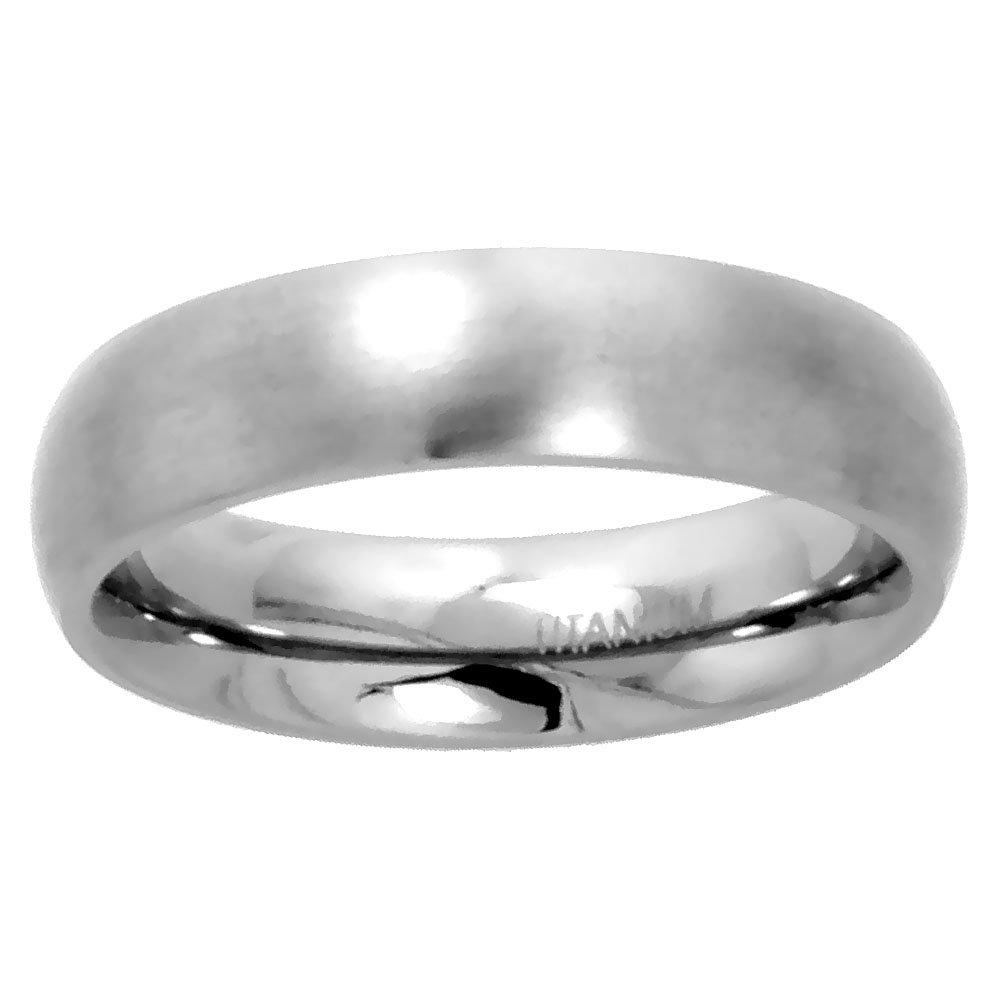 Sabrina Silver Plain Titanium Ring 5mm Wedding Band for Women Brushed Finish Comfort Fit size 7.5