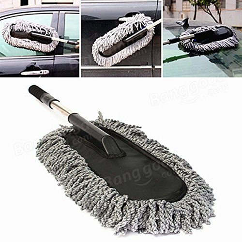 Automobile Mop - Car Wash Cleaning Brush Duster Dust Wax Mop Microfiber Telescoping Dusting Tool - Pout Cable Gondola Wipe Elevator Machine Swob Railway Railcar Swab Motorcar - 1PCs