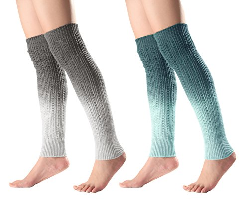 Urban CoCo Women's Gradient Color Footless Socks Knit Crochet Warm Leg Warmer (2 pack-C)