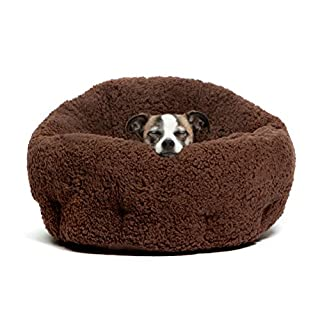 """Best Friends by Sheri OrthoComfort Deep Dish Cuddler (20x20x12"""") - Self-Warming  Cat and Dog Bed, Brown"""
