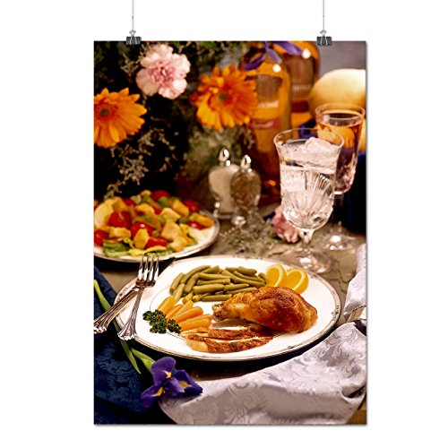 Chicken With Vegies Cafe Food Matte/Glossy Poster A3 (12x17 inches) | Wellcoda