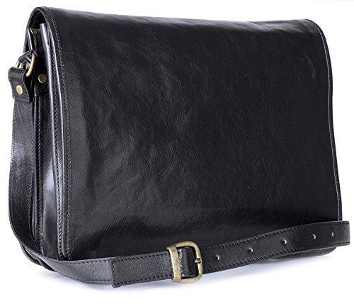 Big bolso Shop para hombre piel auténtica Cruz Cuerpo Bolsa de hombro oficina de trabajo Black - Large Size