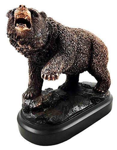 Wall Street Stock Market Grizzly Bear Attacking Paw Slash Bronze Electroplated Figurine