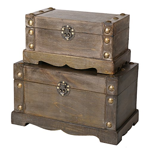 SLPR Remington Wooden Trunk (Set of 2, Distressed Wood) | Decorative Storage Trunk Vintage Themed Antique Victorian Style Treasure Storage Box for Keepsake Memories Toys Jewelry ()