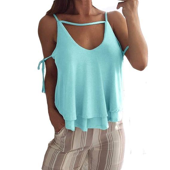 Chaleco sin Mangas para Mujer,Camiseta con Tirantes y Blusas de Color Puro