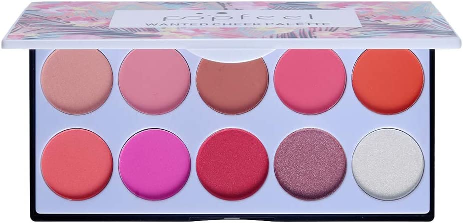 Babysbreath17 10 Colores Polvo Colorete cosméticos Powder Blush Palette Larga duración Contorno Rubor Sombras