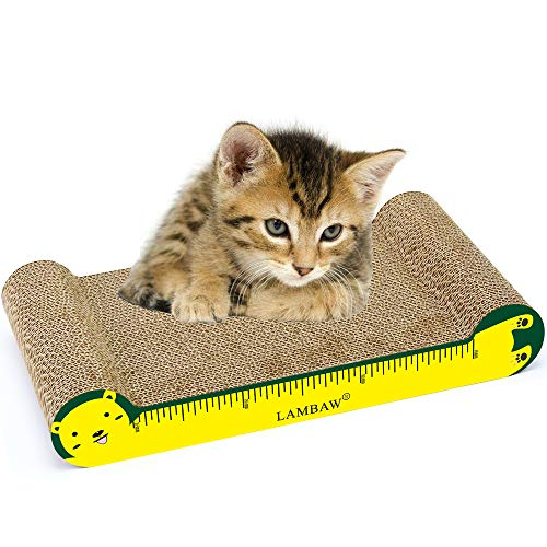 LAMBAW Reversible odorless cat Scratcher Cardboard 16.54 inches Corrugated Scratching Pad Lounge Both Sides Used