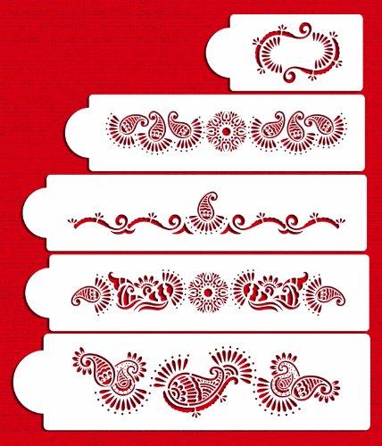 Designer Stencils C388 Mehndi Cake 5 Tier Set Cake Stencils, Beige/semi-transparent by Designer Stencils