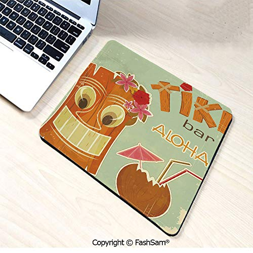 Mouse Pads Invitation to Tiki Bar Old Fashion Display Coconut Drink Mask Flowers Print Decorative for Home(W9.85xL11.8)]()