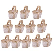 MagiDeal Pack of 12 Vintage Burlap Lace Small Sweets Candy Bags Baskets with Handle Wedding Favor