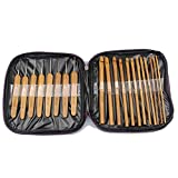 New 2 in 1 2.0mm-10mm 20Pcs Bamboo Crochet Hooks Knitting Weave Needles tool Set with Case bag Embroidery