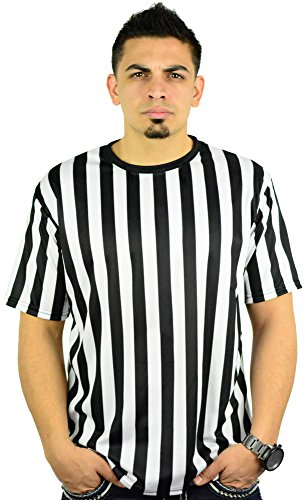 Mens Referee Shirts|Comfortable, Lightweight Ref Shirt for Officials, Bars, More Black/White