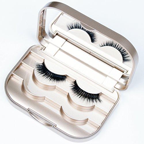 False Eyelash Case Organizer 3-Tier Eyelash Box With Mirror Travel Storage Container Strip Eyelash Holder Packaging…