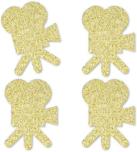Big Dot of Happiness Gold Glitter Movie Camera - No-Mess Real Gold Glitter Cut-Outs - Red Carpet Hollywood Movie Night Party Confetti - Set of 24