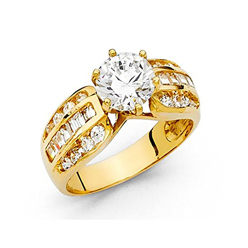 14k Yellow Gold CZ Channel Set Baguette Engagement Ring