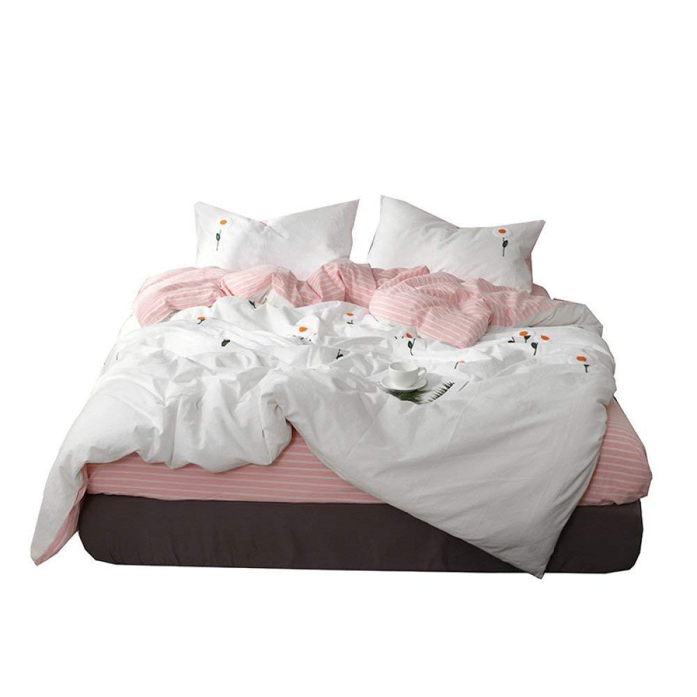 寝具布団カバー ピュアカラーウォッシュコットン寝具セット、SunFlower-bei白い-StandardQuiltCover 超ソフト低刺激性