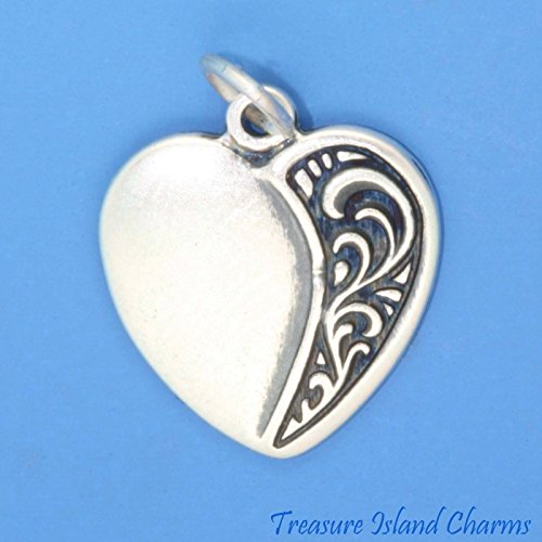 Beautiful Ornate Heart with Wreath 925 Sterling Silver Charm Pendant New Ideal Gifts, Pendant, Charms, DIY Crafting, Gift Set from Heart by Wholesale Charms (Wreath Charm Heart)