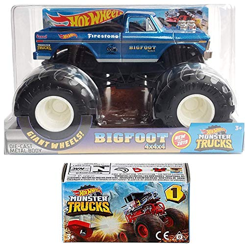 Hot Wheels Classic Blue Crew Monster Big Foot Action 2019 Giant Wheels Pickup Blind Box Series Mini Monster Truck with Launcher 2 Items Bundle