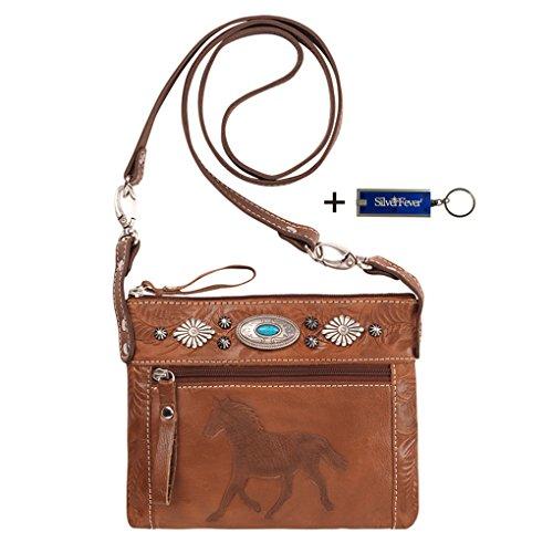 American West Crossbody Purse- Leather Handbag (Trail Rider - Antique (American West Leather Handbag)