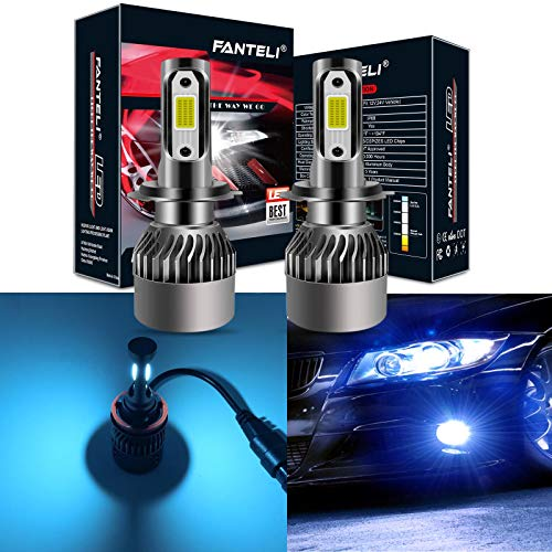 FANTELI H7 8000K Ice Blue LED Headlight Bulbs All-in-One Conversion Kit - 72W 8000LM High Beam/Low Beam/Fog Lights Extremely Bright ()