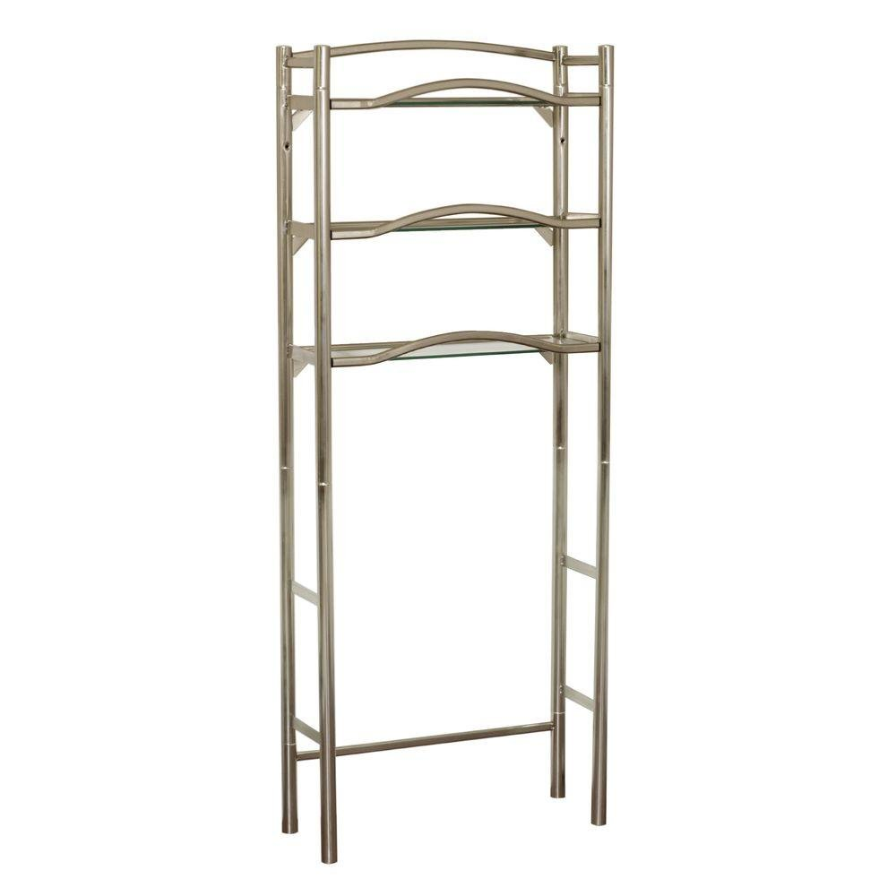 Zenith Kemp Court 25 in. W x 63 in. H x 9-12 in. D Metal Extended Height Over the Toilet Storage Space Saver in Brushed Nickel