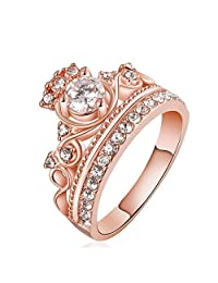 Domybest Crystal Crown Couple Ring Rhinestone Shiny Bridal Engagement Jewelry