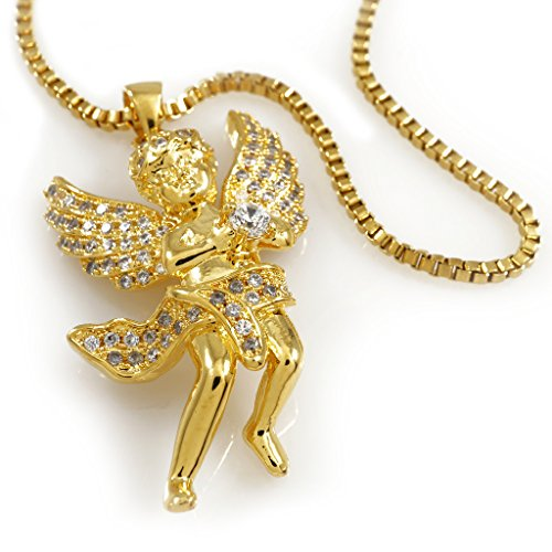 (18k MINI ANGEL Pendant Piece with BOX chain, (Gold))