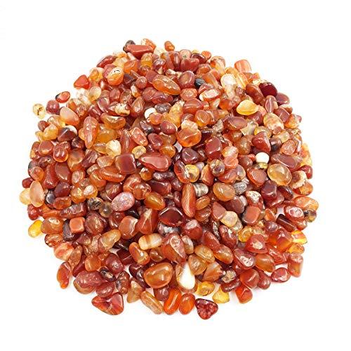 favoramulet Carnelian Tumbled Stone Chips, Polished Crushed Healing Crystal Quartz Pieces Vase Filler 1 LB ()