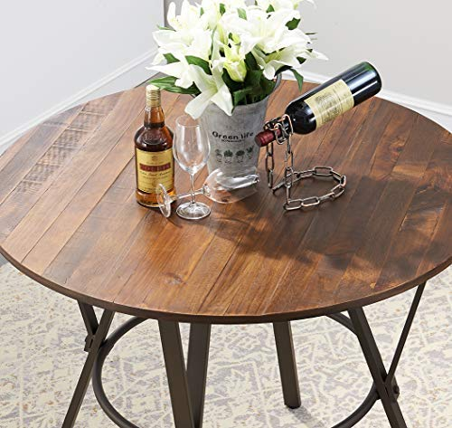 """O&K Furniture 42"""" W Industrial Round Dining Table, Pub Height Dining Table, Wooden Top Bar Bistro Table, 1 PC"""