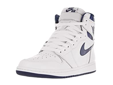 Nike Mens Air Jordan 1 Retro High OG Black/White Leather Athletic Sneakers  Size 10.5