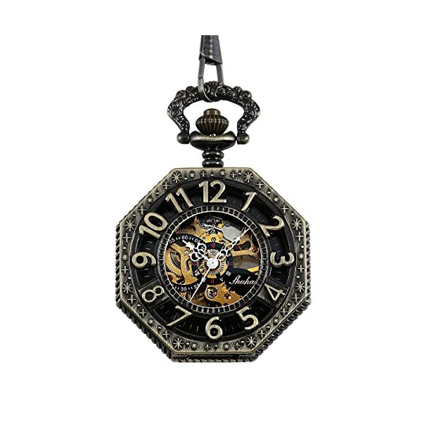 Carrie Hughes Steampunk Vintage Gold Tone Octagon Skeleton Mechanical Pocket Watch with Chain Christmas Gifts CHPW02 4