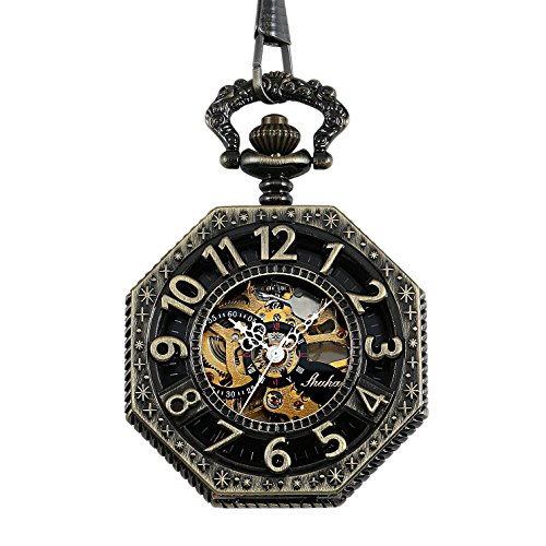 Carrie Hughes Steampunk Old railroad style Bronze Octagon Pendant Skeleton Mechanical Pocket Watch With Chain CHPW02