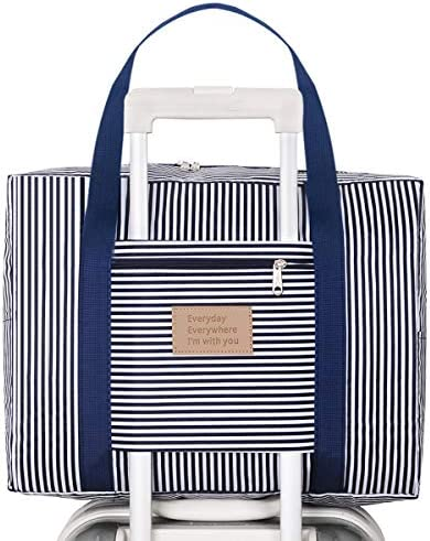 Kemladio Foldable Travel Bag Travel Duffle Bag Waterproof Carry-on Bag Travel Tote Bag Stripes Bag Dark Blue