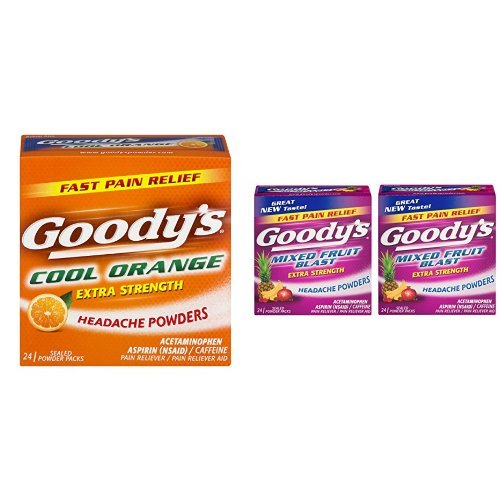 Goody's Extra Strength Fast Pain Relief Powder - Cool Orange Flavor - 24 Powders & Goody's Extra Strength Headache Powders, Mixed Fruit Blast Flavor-24 Powders Per Box-2 Boxes Total