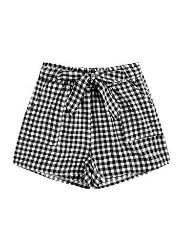 SOLY HUX Women's Casual Mid Waist Belted Short Preppy Pants with Pockets Gingham S