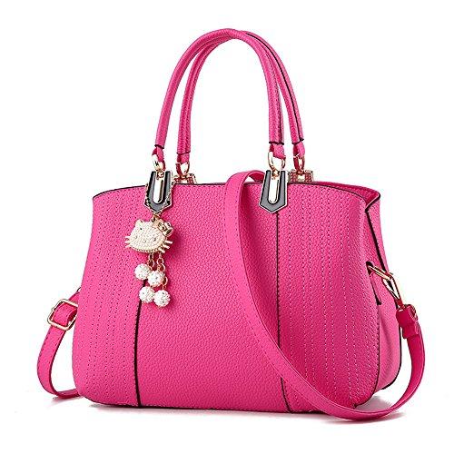 (JVPS 19-C) todos los 6 colores 2018 nuevas mujeres bolso lindo del hombro de la PU impermeable de Europa y América colgante de metal precioso bolso de la manera bolso del viajero personaje famoso Rosa Roja