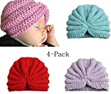 Baby Girl's Hat Kids Knit Beanie Hats Toddlers Soft Cute Flower Caps(4Pack) (4Pack-b)