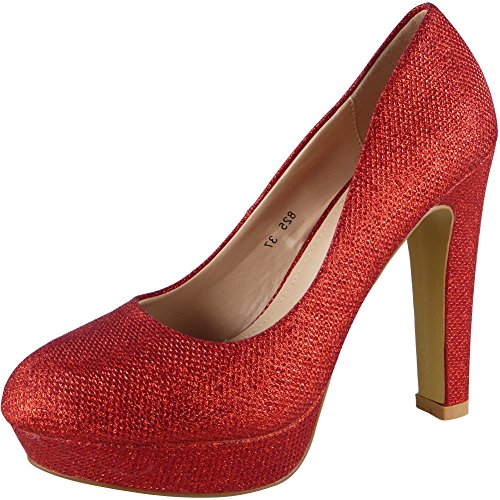 Damen Funkeln Hoch Hacke Plattform Party Gericht Schuhe Größe 36-41 Rot