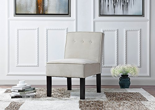 Modern Sleek Tufted Linen Fabric Accent Living Room Chair (Beige)