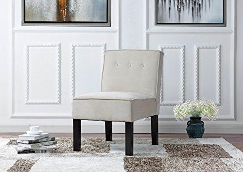 Modern Sleek Tufted Linen Fabric Accent Living Room Chair Beige
