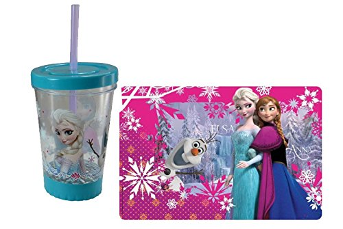 Make Meal Time Fun With Olaf! Disney Frozen 2pc. Gift Collection! (1) Frozen 12oz LED LIGHT UP FUN SIP Tumbler (1) Frozen Place Mat! Featuring Princess Elsa, Anna & Olaf!