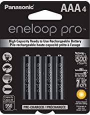 eneloop Panasonic Bk-4Hcca4Ba Pro Aaa High Capacity Ni-Mh Pre-Charged Rechargeable Batteries, 4 Pack