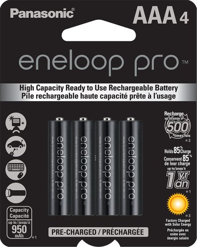 Panasonic BK-4HCCA4BA eneloop pro AAA High Capacity Ni-MH Pre-Charged Rechargeable Batteries, 4 Pack (4 Pack Green Aaa)