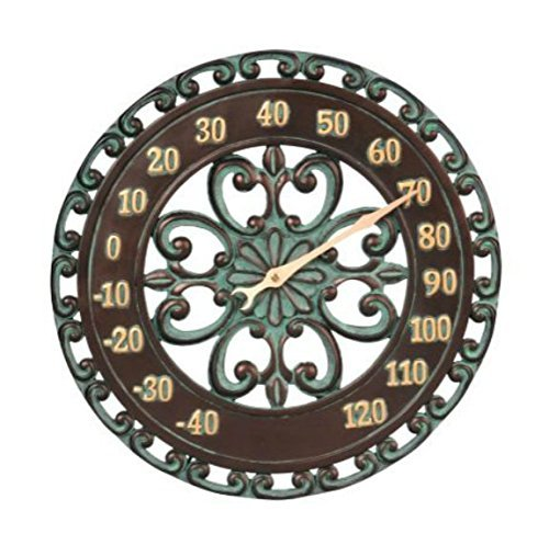 14'' Medallion Outdoor Thermometer Wall Hanging Outside Patio Porch Wall Decor